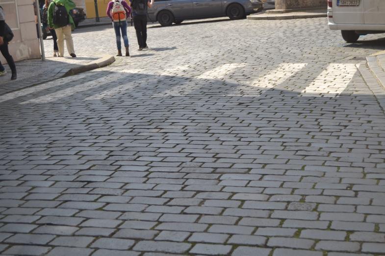 The beautiful sett streets of Prague